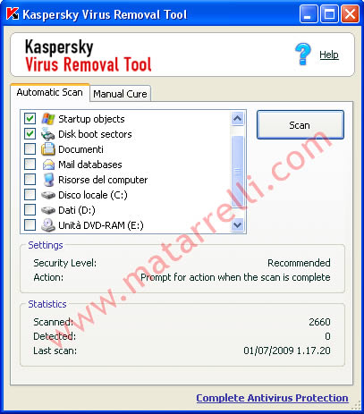 Una schermata di Kaspersky Virus Removal Tool