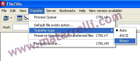 Impostare trasferimento binario su FileZilla