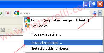 Trovare provider di ricerca per Internet Explorer 8