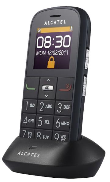 """La base """"cradle"""" dell'Alcatel OT 282, semplifica la ricarica del telefono."""